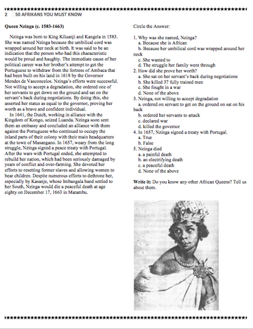 50 Afrikans You Must Know Vol  1 Reading Comprehension Workbook (pdf)