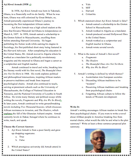 50 Afrikans You Must Know Vol. 2 Reading Comprehension Workbook (pdf)