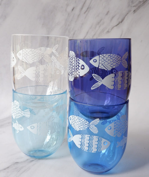 Ombre Fish or Bubble Tumblers - Set of 4