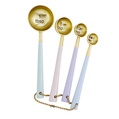 Pastel + White Enamel Stainless Measuring Cups Spoons Forks