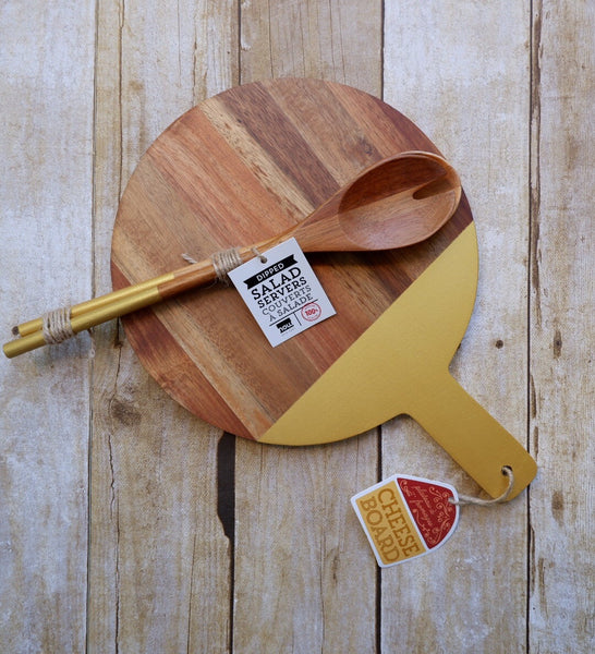 Gold Acacia Cheese Board and Salad Servers