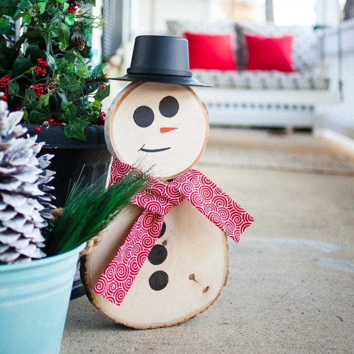 wood round snowman craft box girls