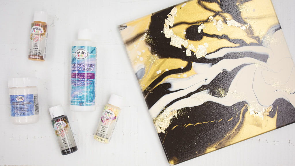 Paint Pouring with Marbling Medium