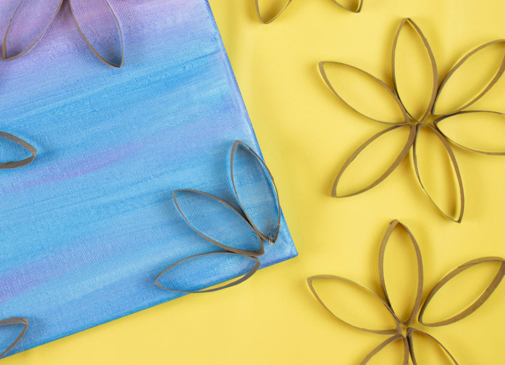 DIY Craft Tube Flower Canvas with Crayola