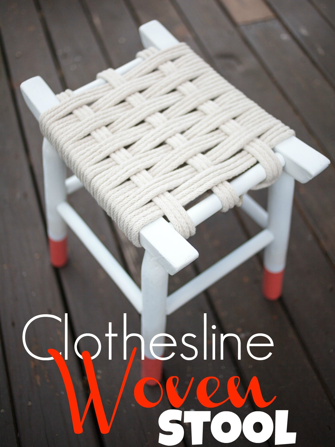 DIY Clothesline Woven Stool Pinterest