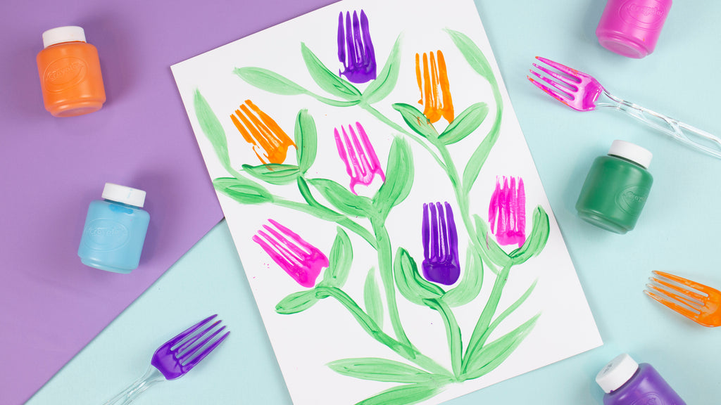 DIY Fork Flower Painting