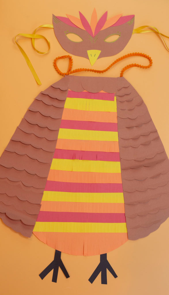 Cardboard and Construction Paper Owl Halloween Costume Kids Craft