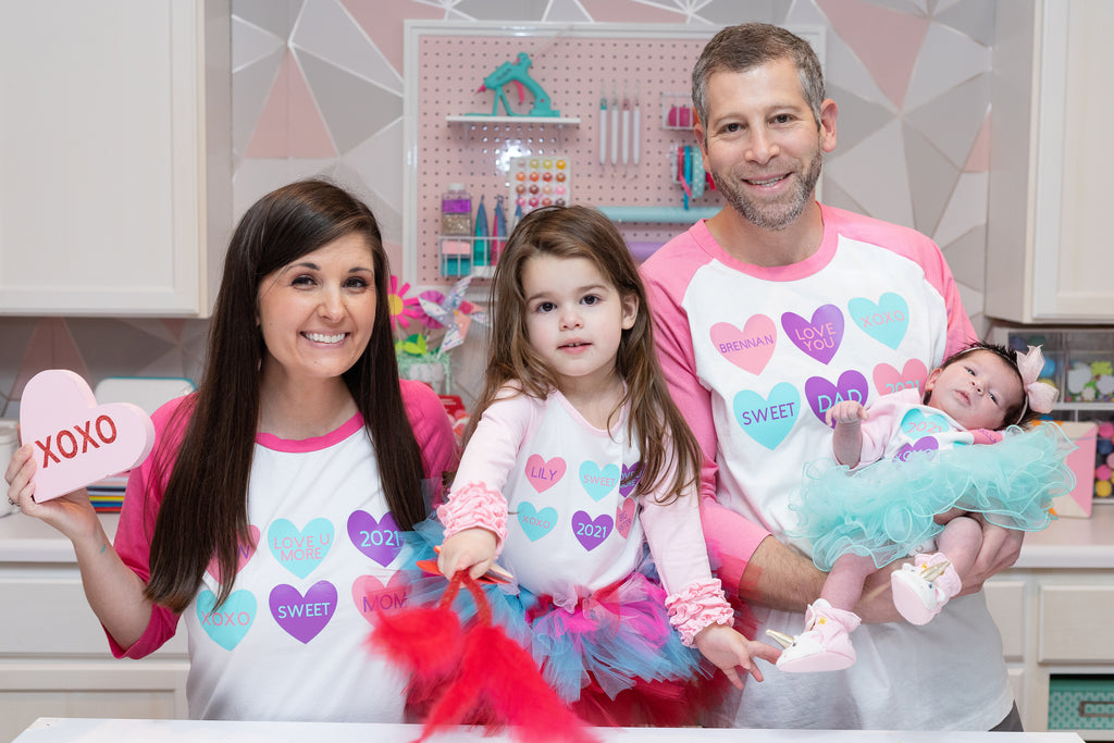 Personalized Cricut Family Conversation Heart Valentine's Day Shirts