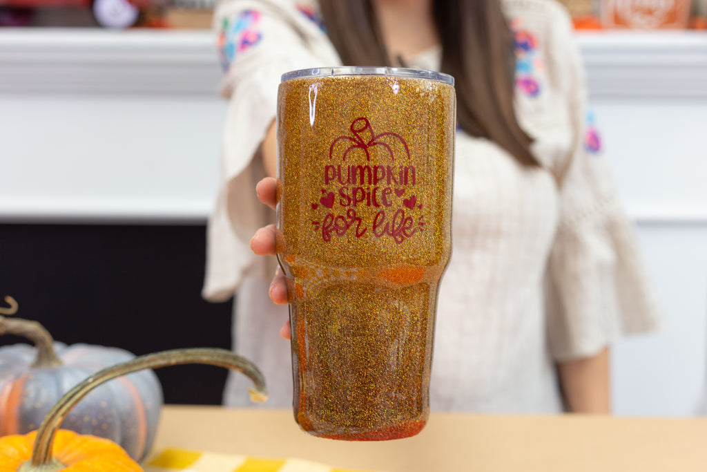 DIY Tack It Over Glitter Tumbler
