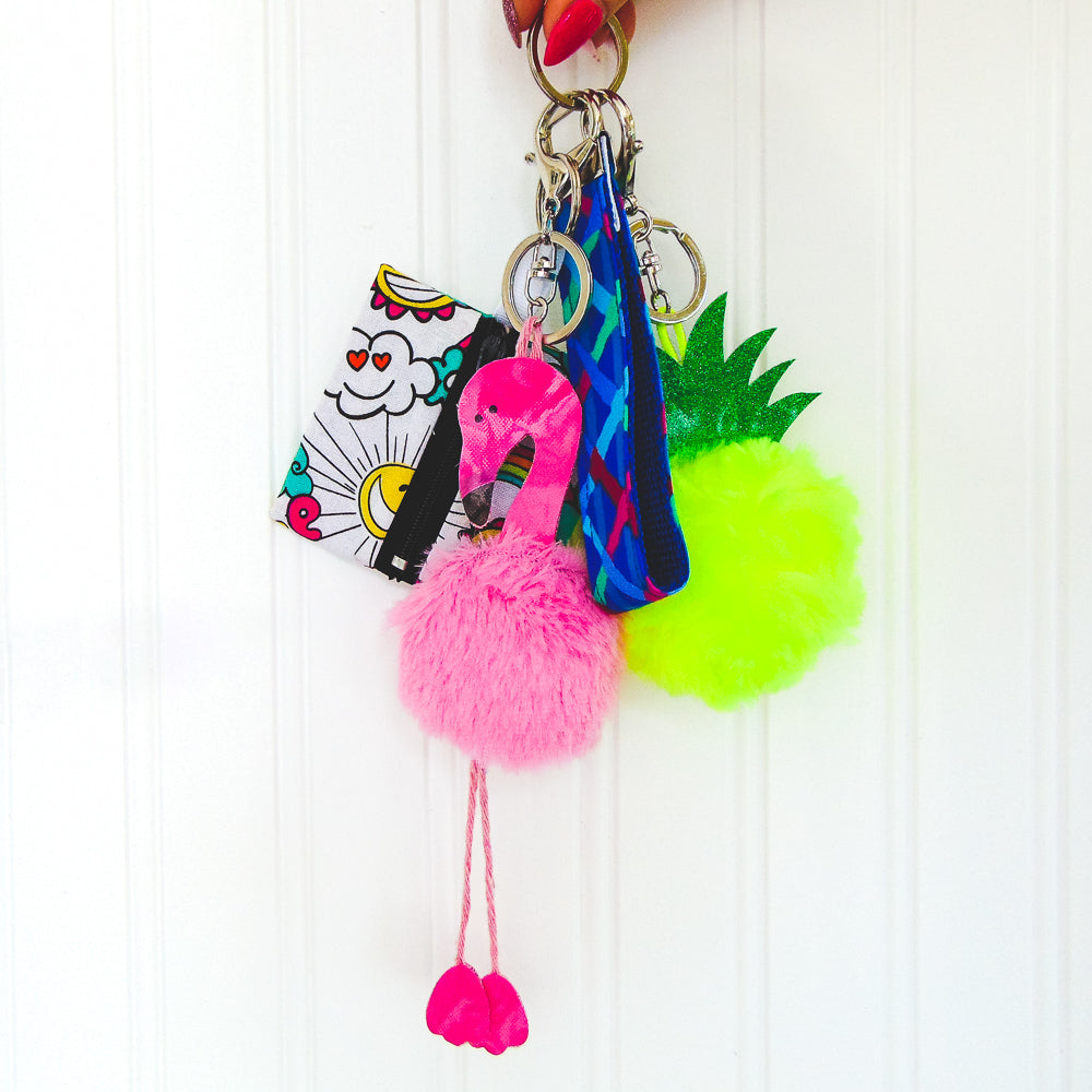 DIY Fluffy Flamingo Key-Chain -