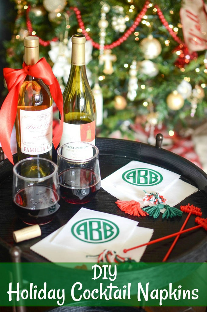 DIY Holiday Cocktail Napkins