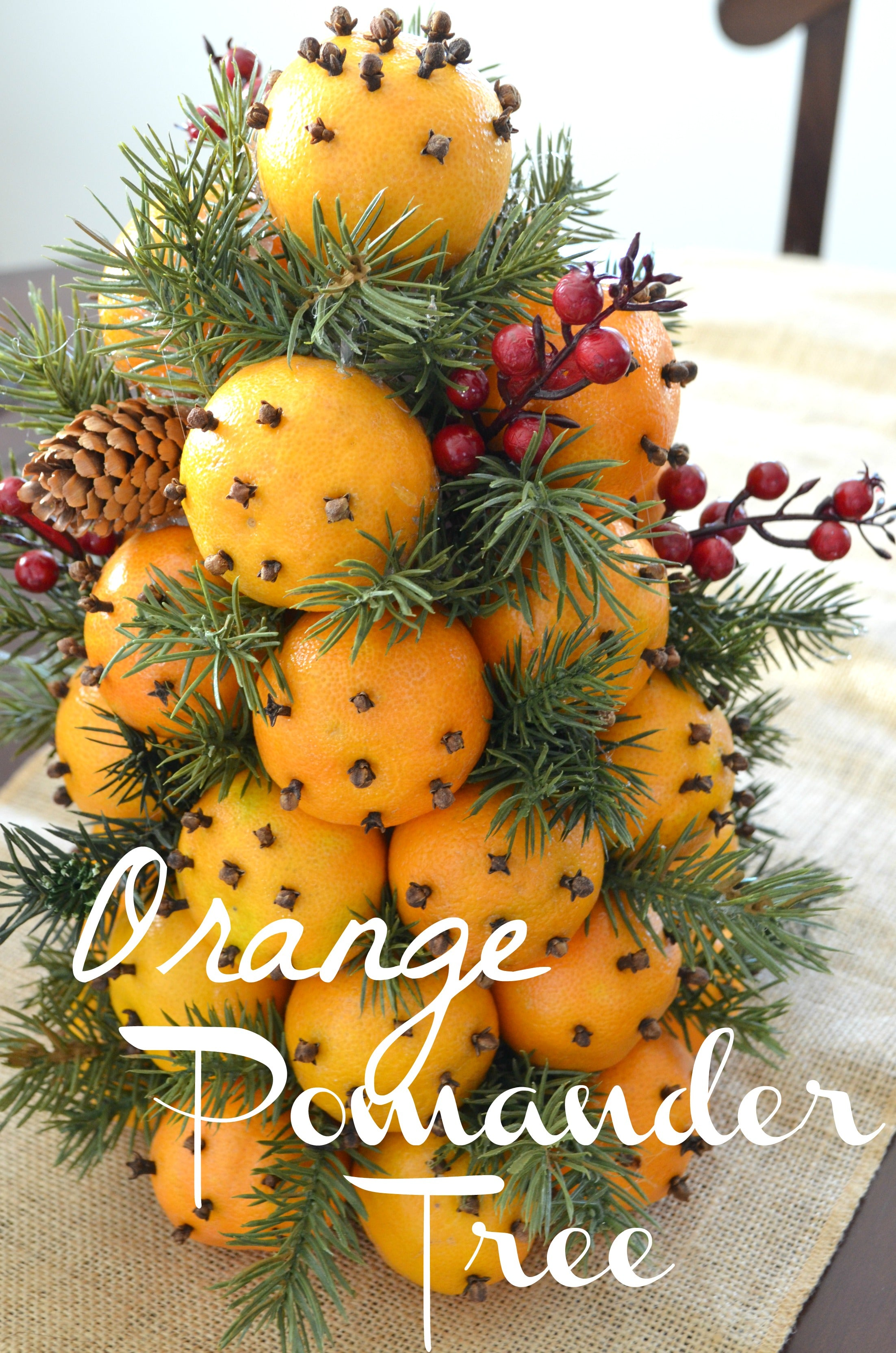 DIY Orange Pomander Tree For the Holidays