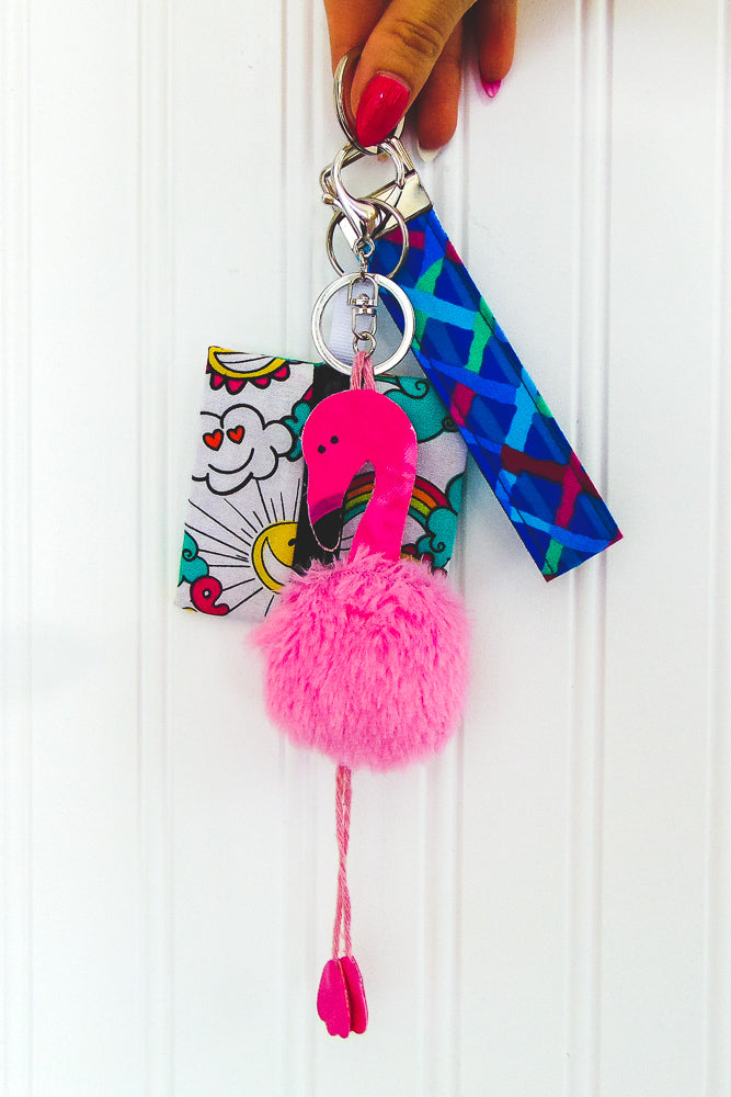DIY Fluffy Flamingo Key-Chain