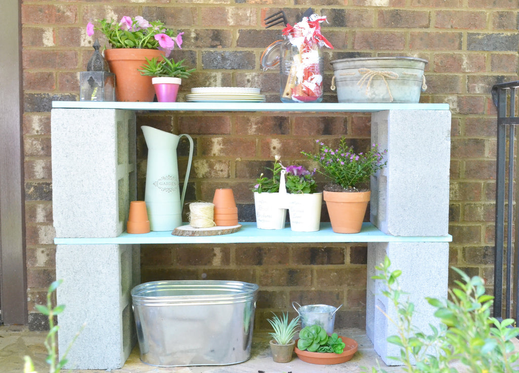 DIY Cinder Block Shelf
