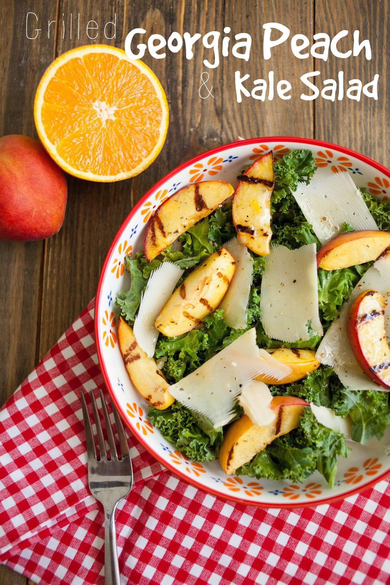 Grilled Georgia Peaches with Kale Salad