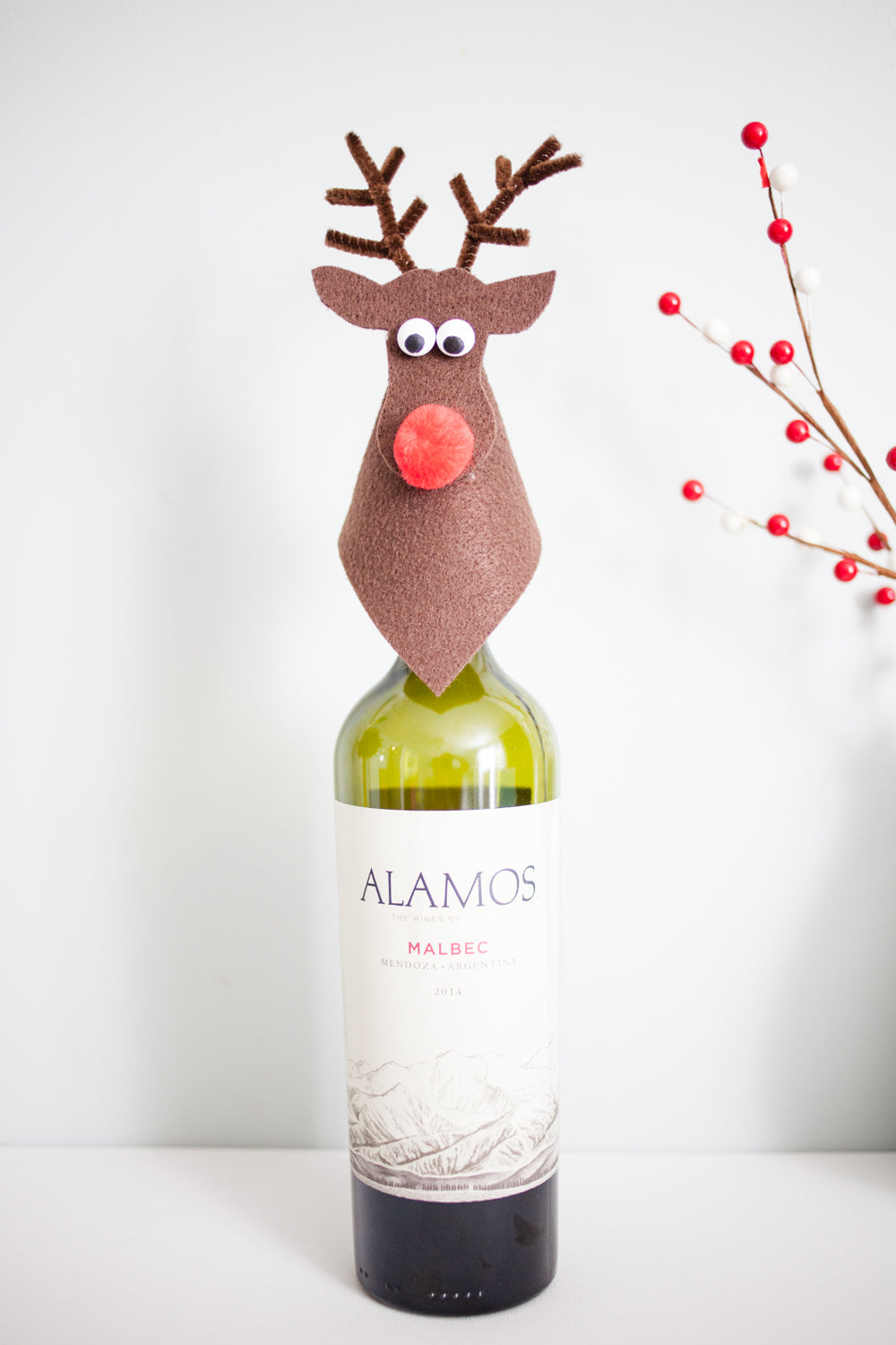 DIY Rudolph Wine Topper