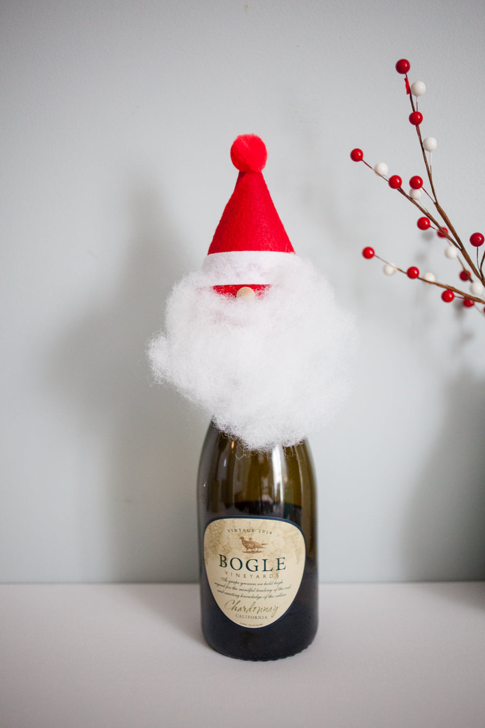 DIY Santa Wine Toppers