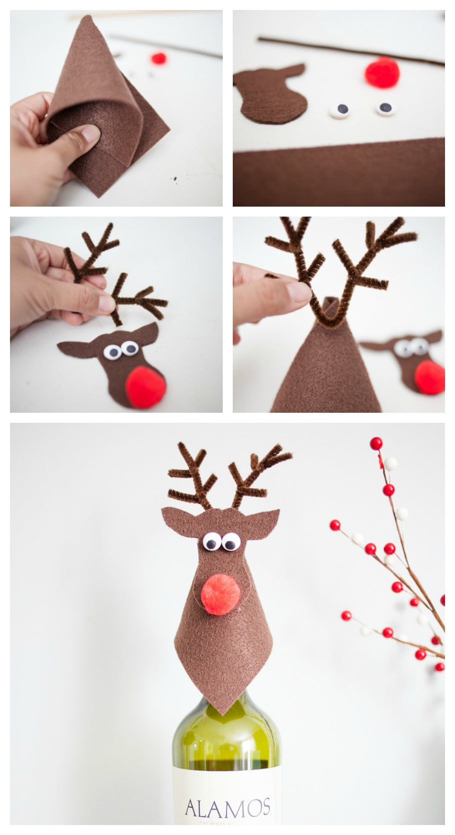 DIY How to make a Rudolph Wine Topper