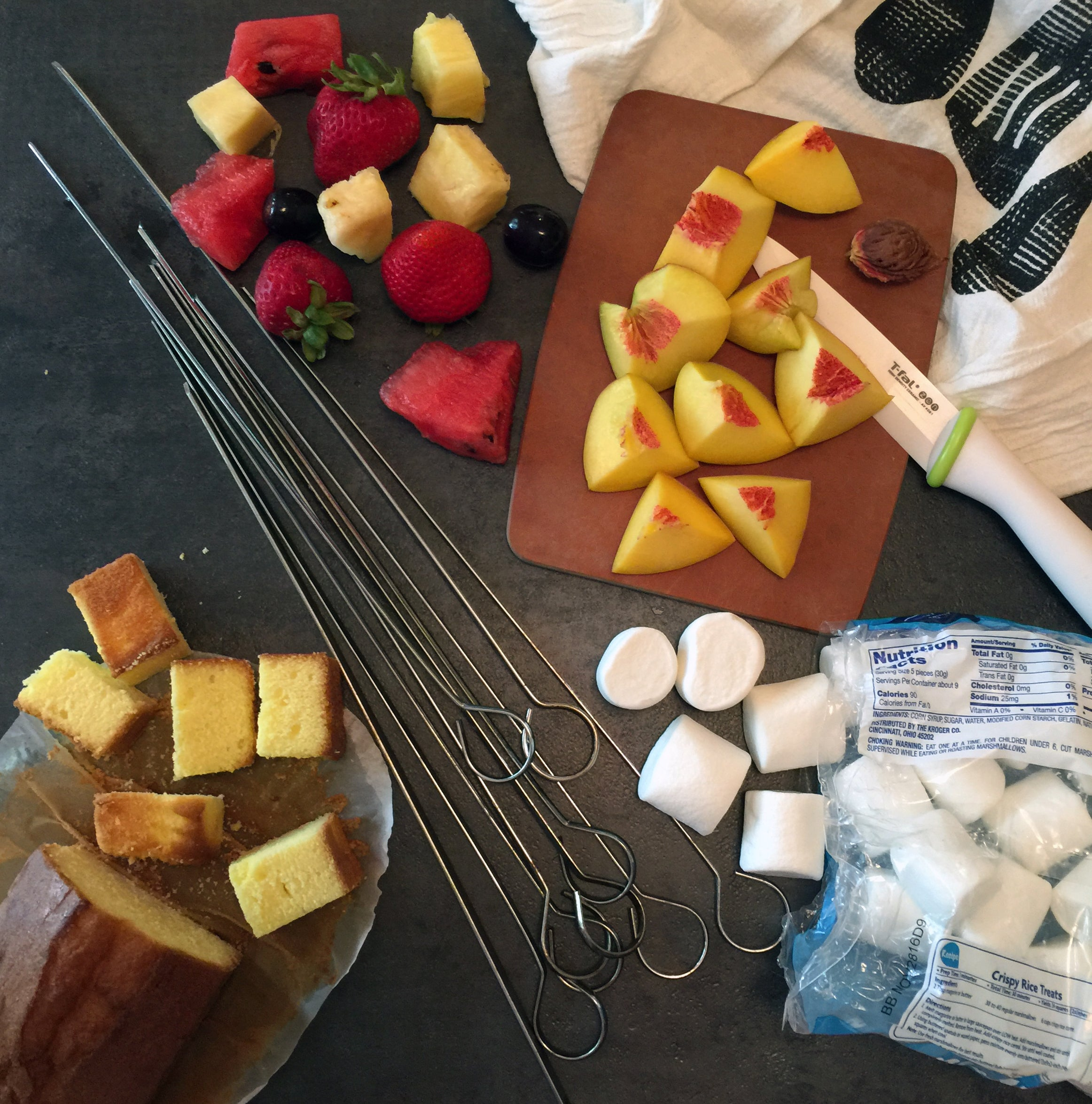 Fruit kebab ingredients to entertain kids