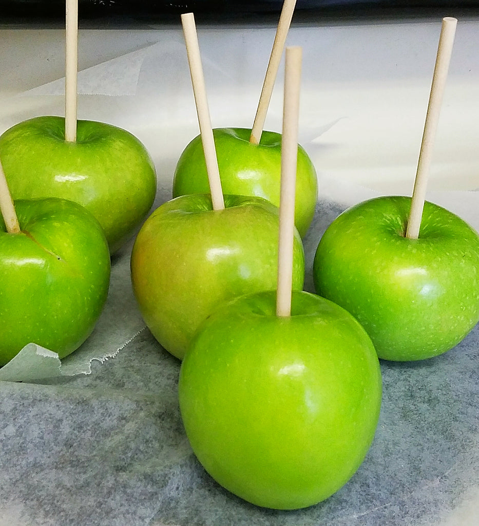 Apples with skewers