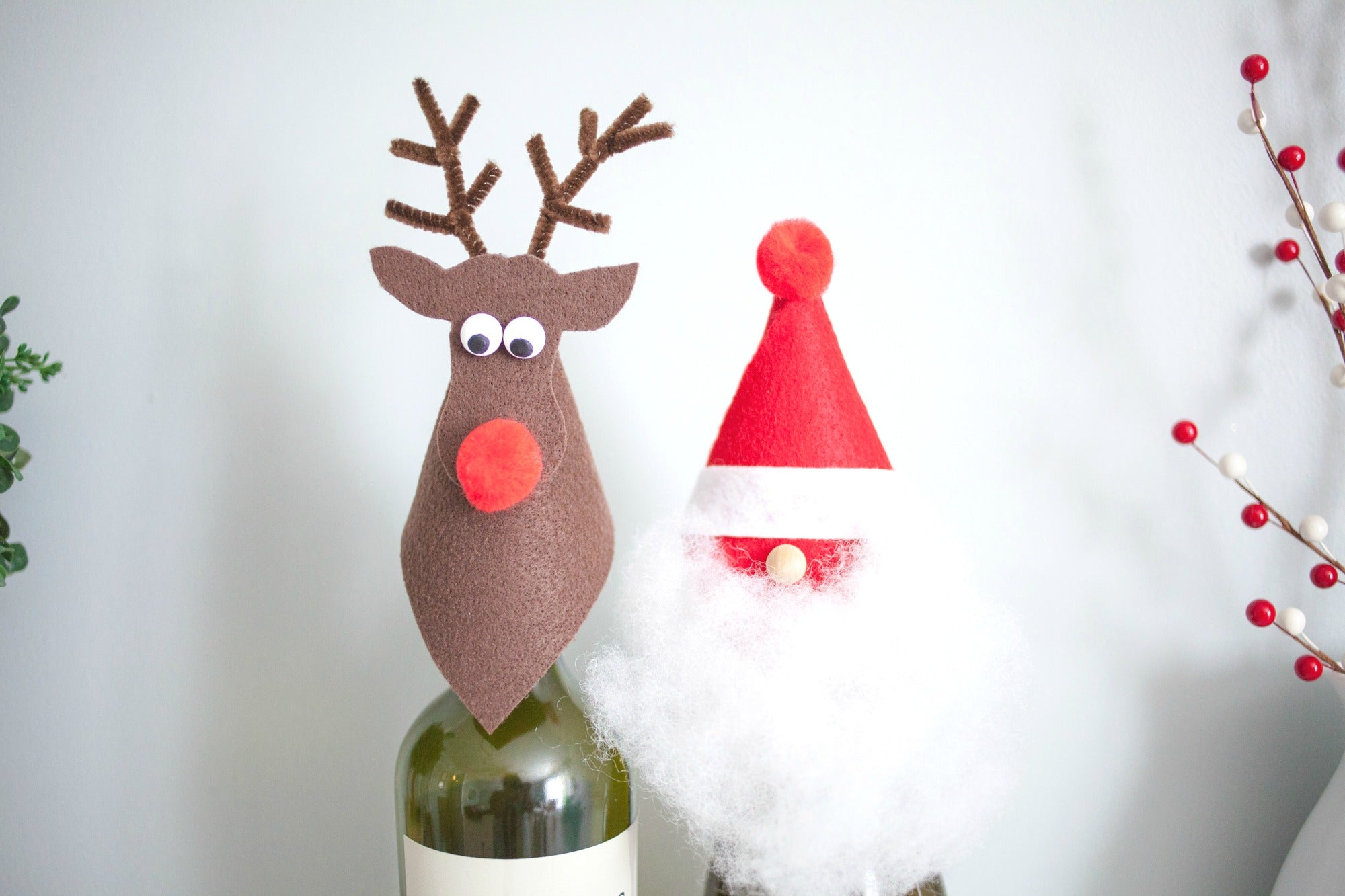 DIY Santa and Rudolph Wine Toppers