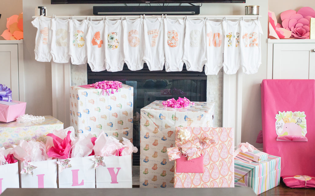 Baby Shower Monthly Onesies
