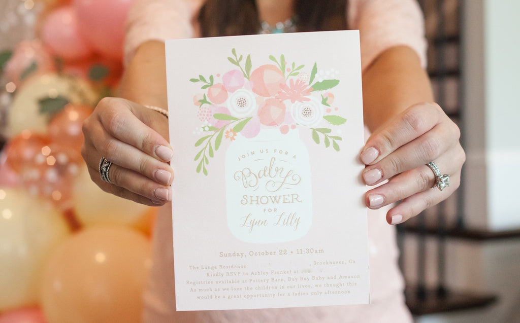 Mason Jar Floral Baby Shower Invitation