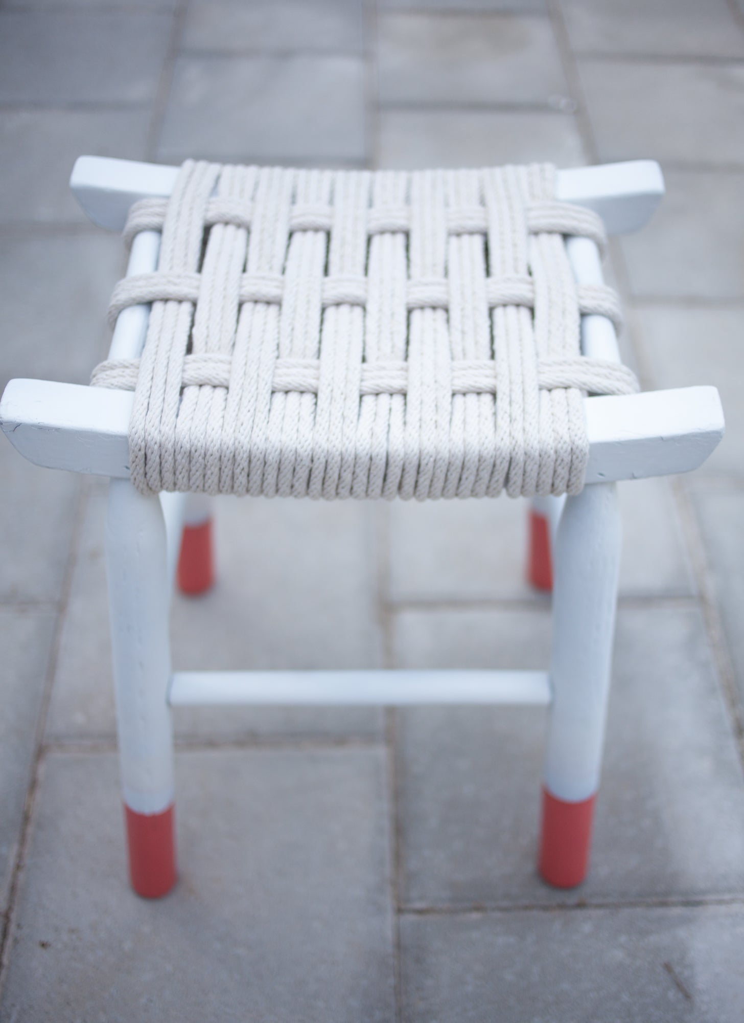 Clothesline woven stool