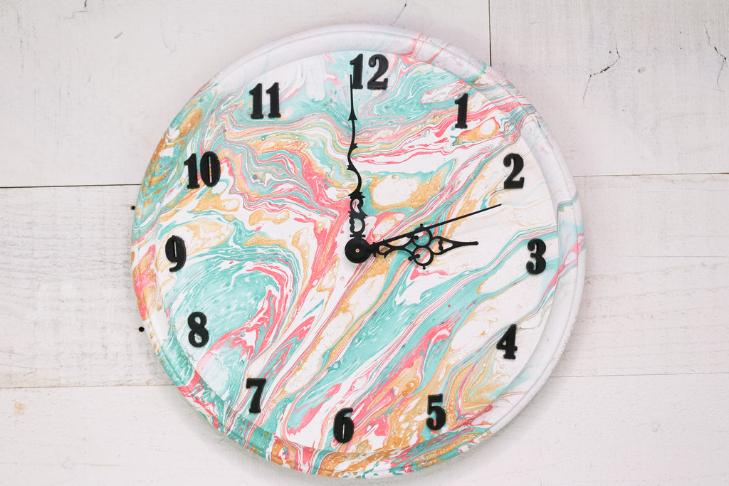 DIY Marbled Clock