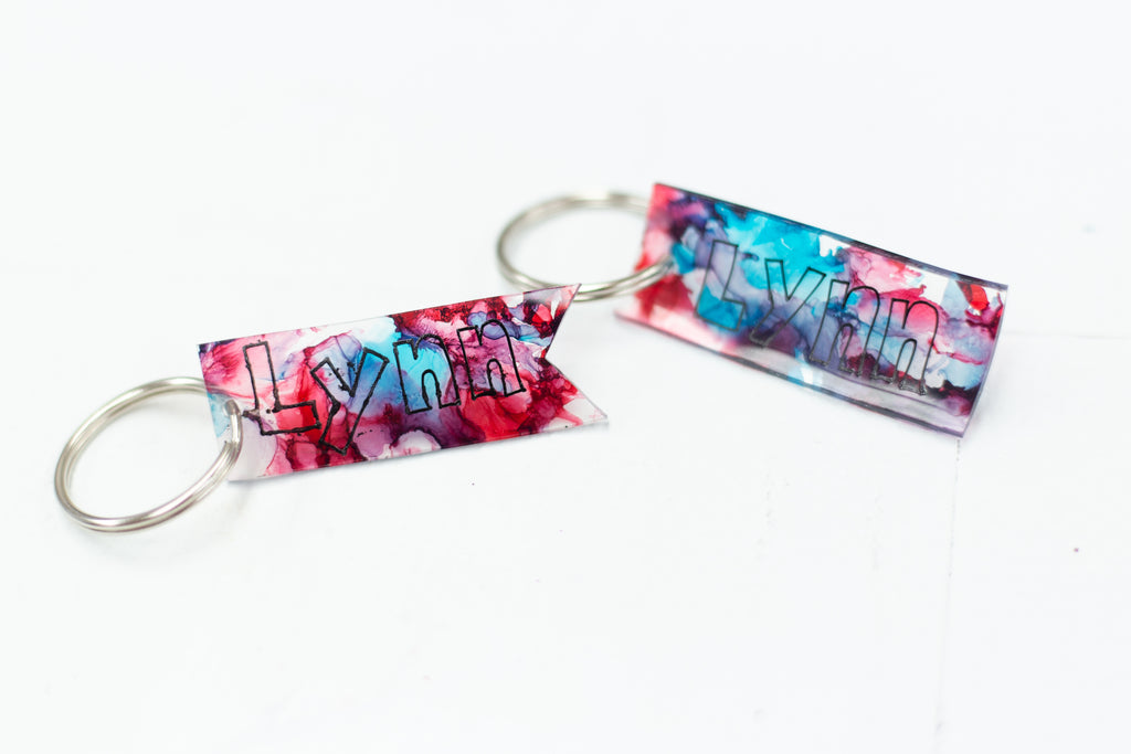 Alcohol Ink Shrink Art Keychain