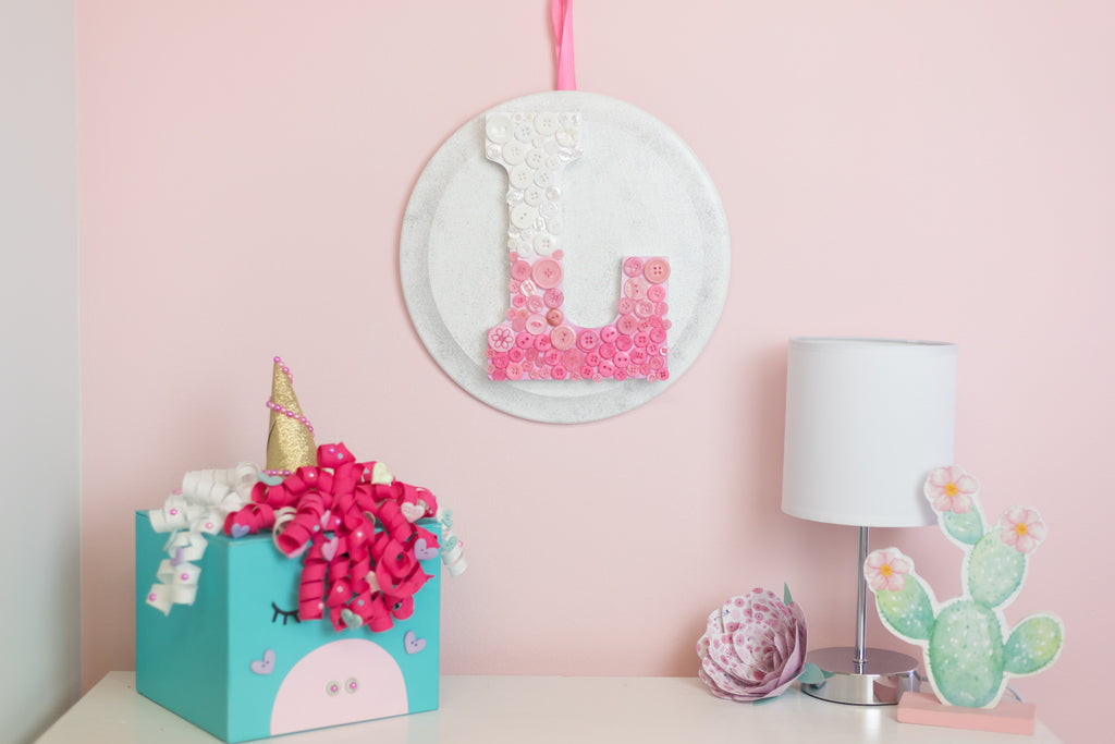 Little Girls Room Monogram Button Art