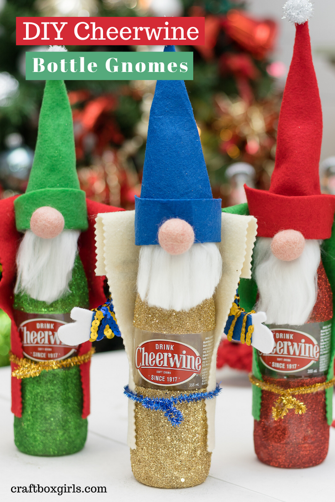 DIY Cheerwine Bottle Gnomes for Christmas