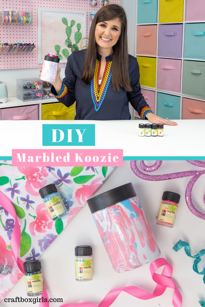 DIY Custom Marbled Koozie with Marabu Easy Marabu