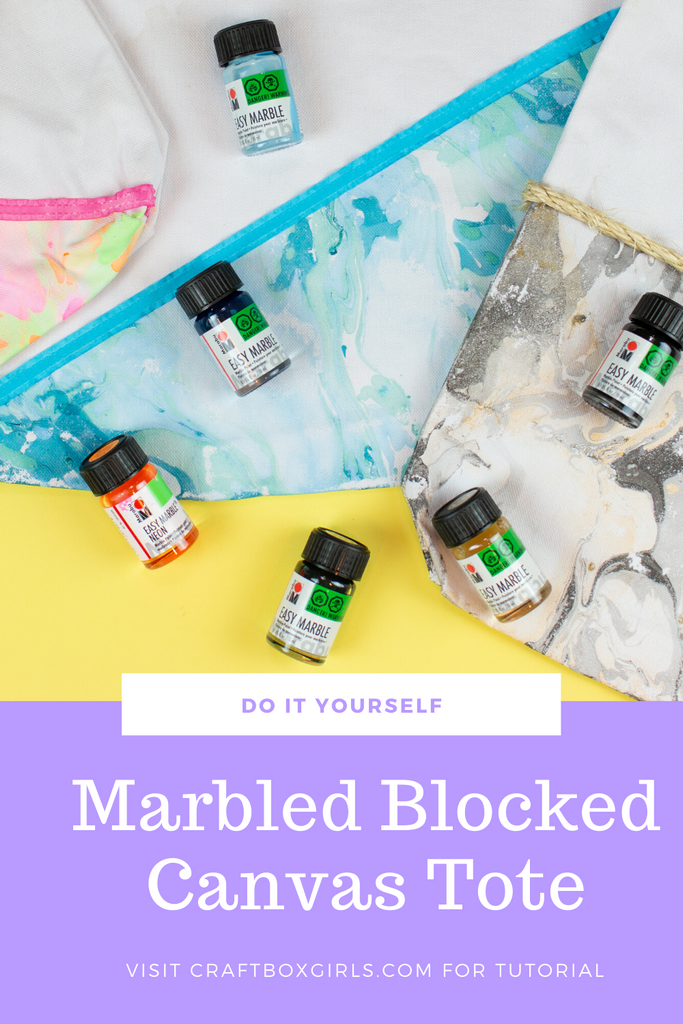 DIY Easy Marble Color Block Tote Bags