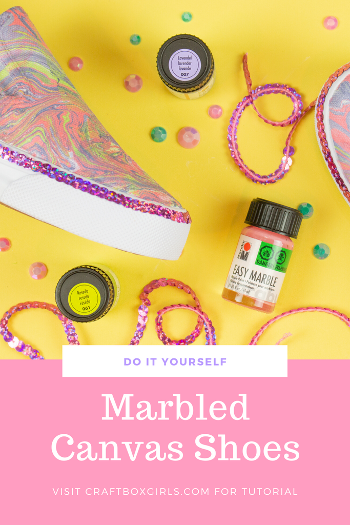 DIY Marabu Easy Marble Canvas Shoes