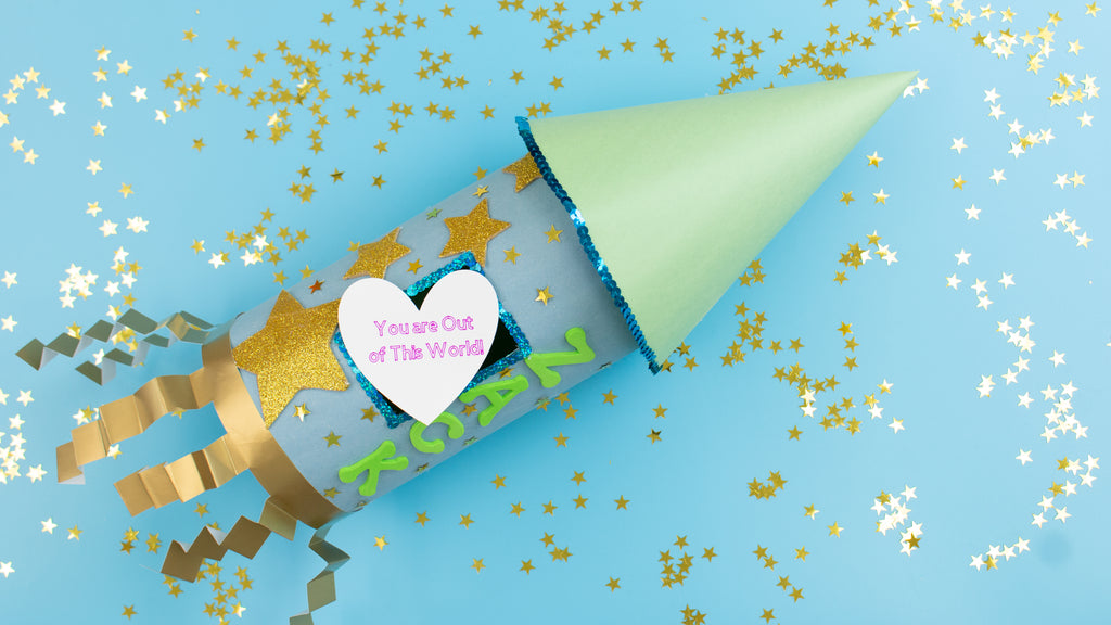 Rocket Ship Valentine's Card Box