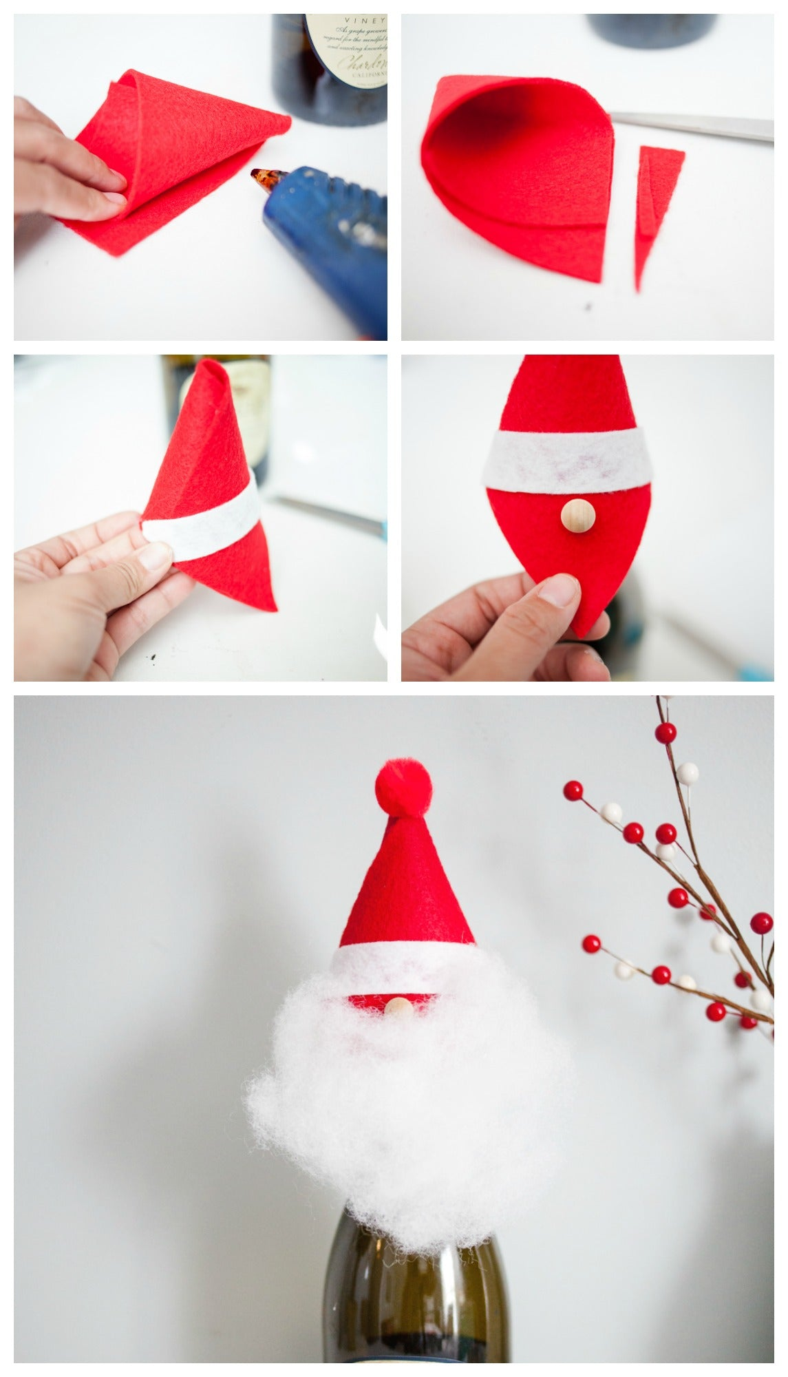 DIY How to Make a Santa Wine Toppers