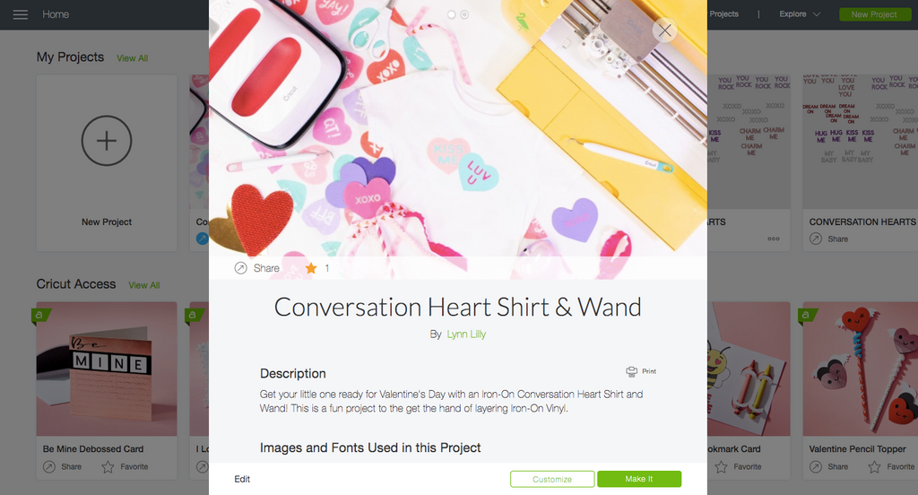 Cricut Iron-On Valentine's Day Conversation Heart Shirt