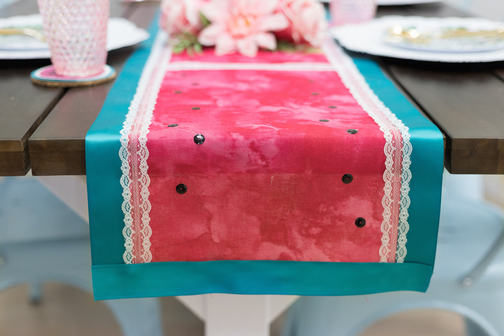 DIY Watermelon No Sew Table Runner