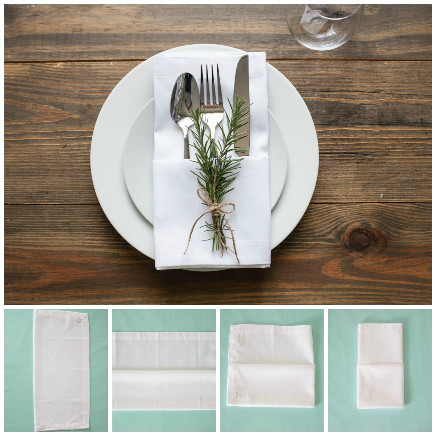 This is a good table setting when your guests are sitting very close together. The flatware are tucked into the napkin. Start by folding the napkin in half ... & 10 Ways to Fold Napkins u2013 Craft Box Girls