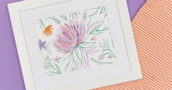 Purple Big Floral Watercolor Art Print - Digital Download - Craft Box Girls