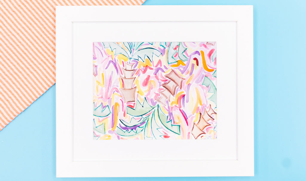 Tropical Palm Tree Watercolor Art Print - Digital Download - Craft Box Girls