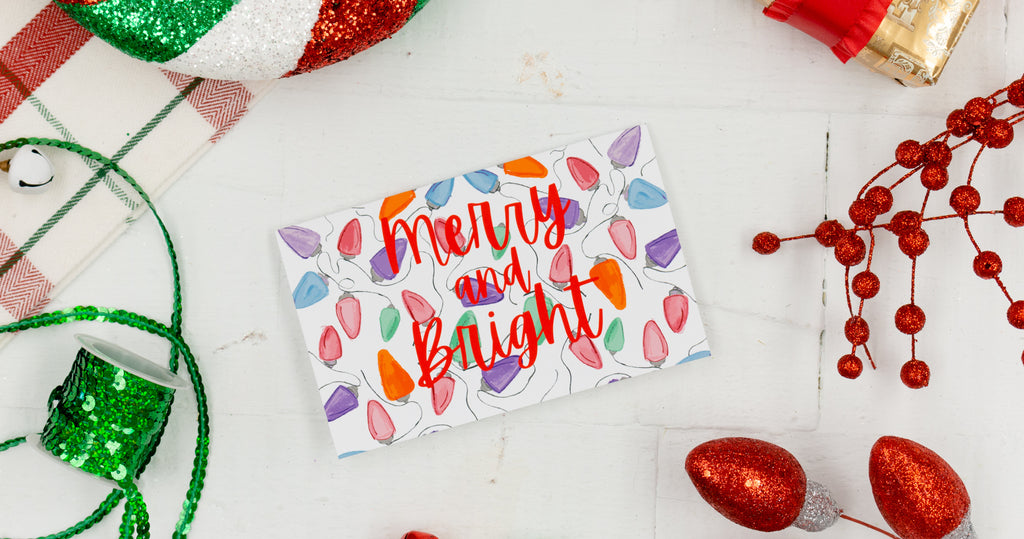 Merry & Bright Holiday Greeting Card - Digital Download - Craft Box Girls