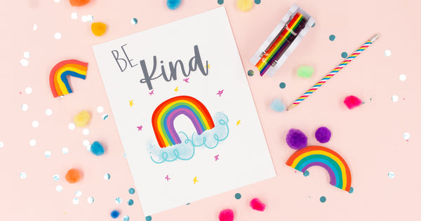 Be Kind Rainbow Happy Art Print - Digital Download - Craft Box Girls