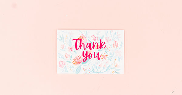 Watercolor Floral Thank You Greeting Card - Digital Download - Craft Box Girls