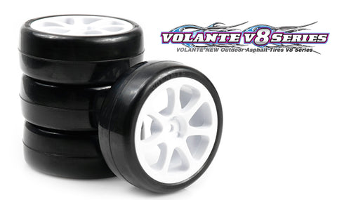 VOLANTE V8T 32R Rubber Tire Pre-Glued 4 pcs (Spoke Wheel) - V8T-PG32RSP