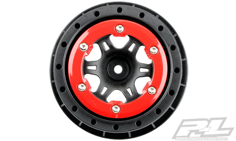"PRO-LINE Split Six 2.2""/3.0"" Red/Black Bead-Loc Wheels - 2715-04"