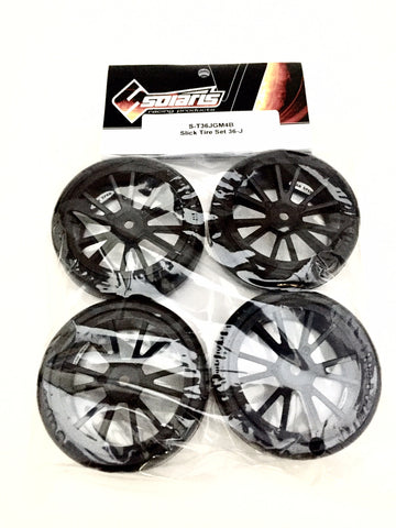SOLARIS High Performance Slick Tire Set - 36J Black - S-T36JGM4B