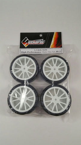 SOLARIS High Performance Slick Tire Set - 40J White - S-T40JGM4W