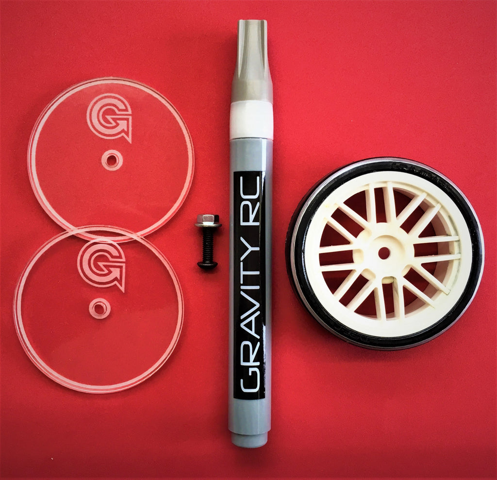 GRAVITY RC Touring Car Side Wall Glue Trace Kit (58.5mm, 59.5mm Trace Discs & Marker) - GRC256